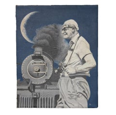 """Train Enthusiast"" Naturalistic Portrait with Steam Engine"