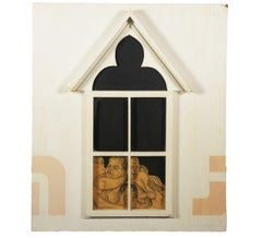Assemblage with Men Wrestling Inside a Window