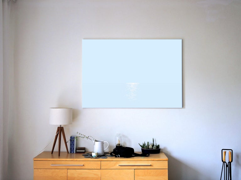 Light 5 July 04:23, Modern Landscape Painting, Minimalistic, Abstract, Sea View - Gray Abstract Painting by Robert Motelski