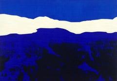 Mountains 15 March 06:57 - Modern Landscape Oil Painting, Cobalt Blue, Nature
