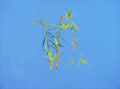 Reeds 28 September 13:42, Modern Landscape Oil Painting, Nature Lake, Minimalism