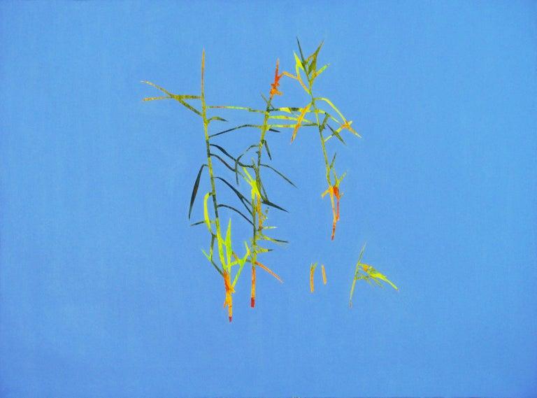 Robert Motelski Abstract Painting - Reeds 28 September 13:42, Modern Landscape Oil Painting, Nature Lake, Minimalism