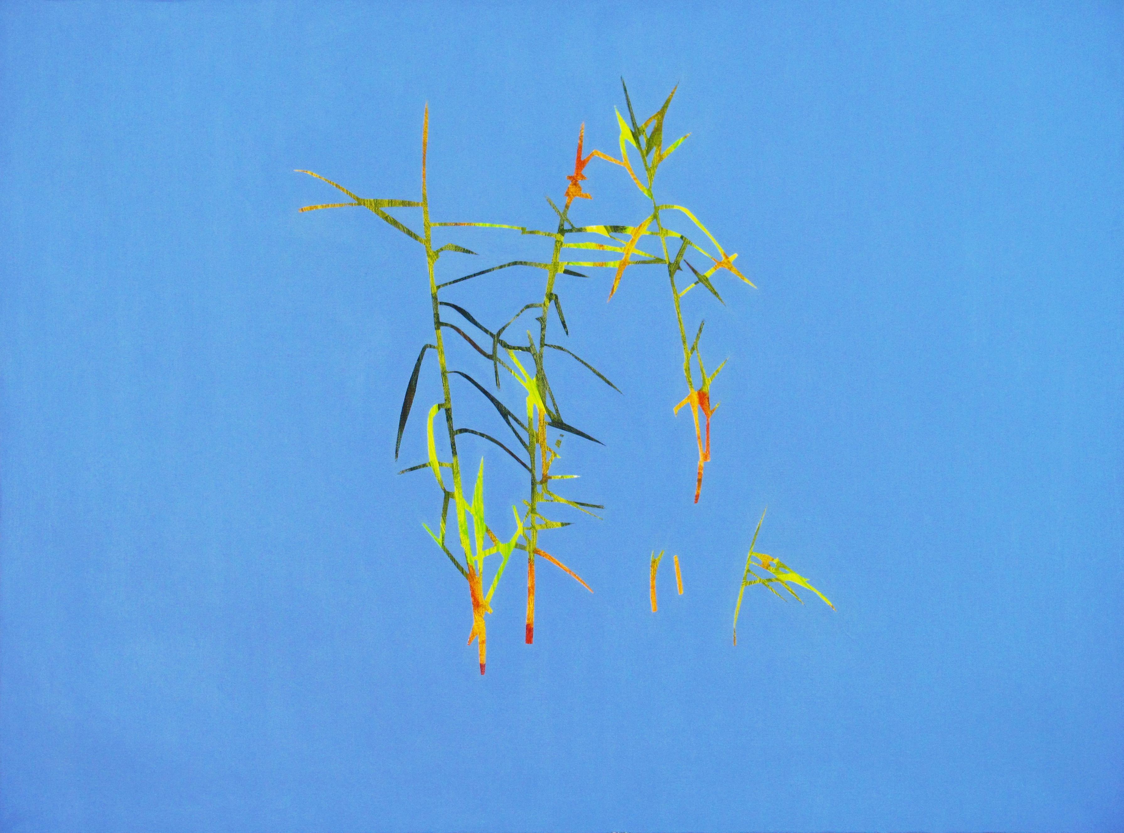Reeds 28 September 13:42, Modern Landscape Oil Painting, Nature Lake, Minimalism