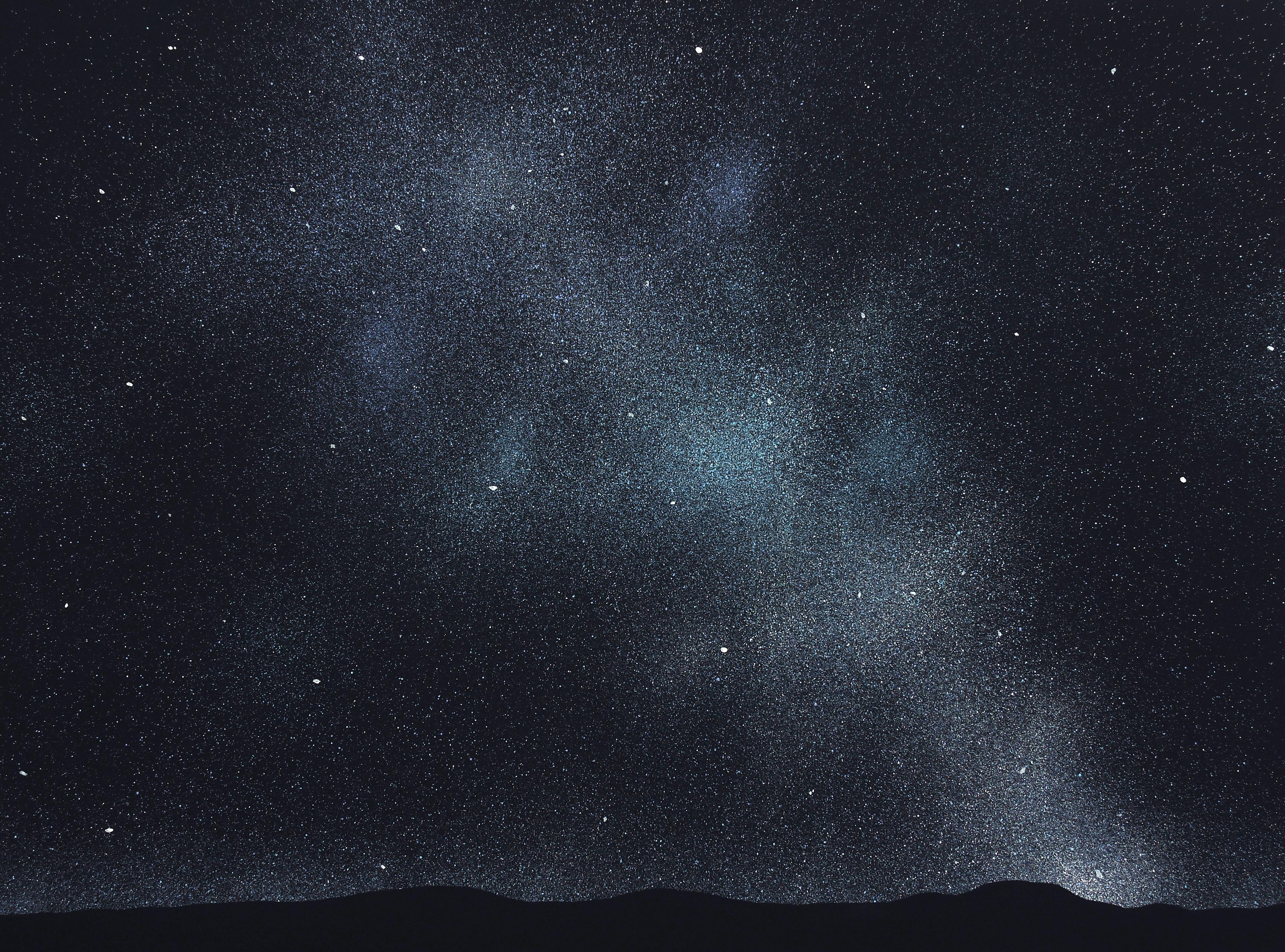 Stars 18 September 22:48, Modern Night Sky Landscape Painting, Minimalist Art