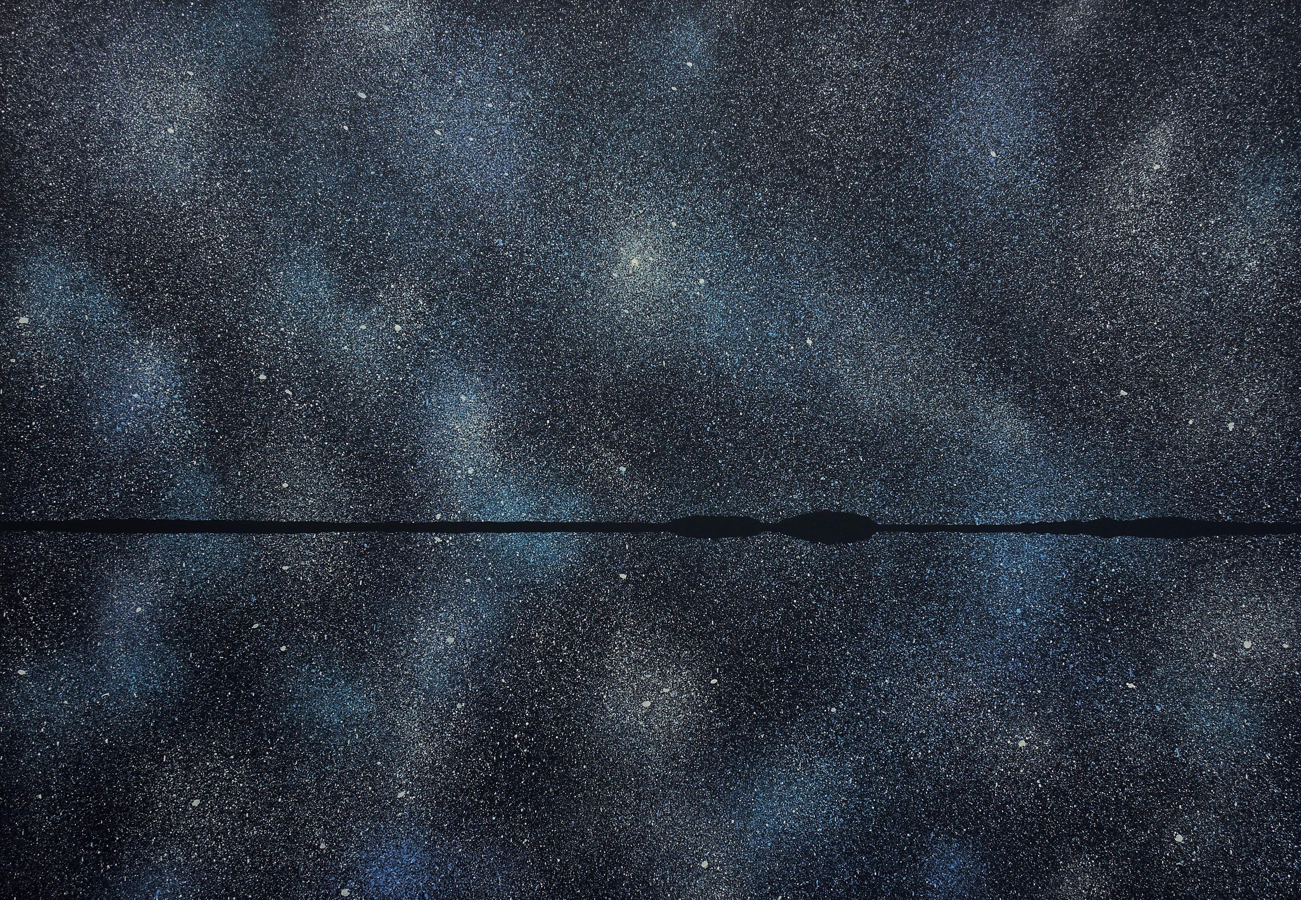 Stars 21 August 23:36, Modern Night Sky Landscape Painting, Minimalist Art