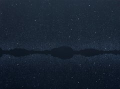Stars 3 July 22:59, Modern Night Sky Landscape Painting, Minimalistic Painting