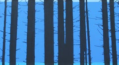 Trees 21 October 14:15, Modern Landscape Painting, Minimalistic, Abstract,Forest