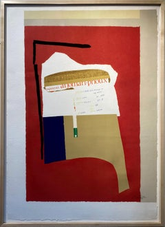 America - La France variations I, 46/70 color lithograph with collage