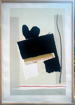 America - La France variations IV, 17/68 color lithograph with collage