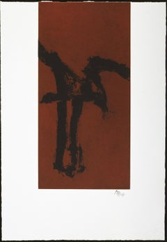"""""""Primal Sign IV"""" Robert Motherwell Limited Edition Print in Black and Brown"""