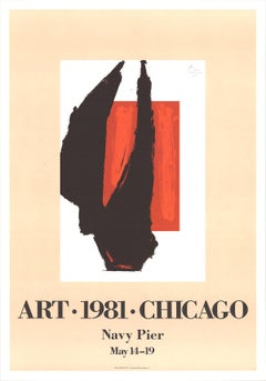 "Robert Motherwell-Art Chicago-39.5"" x 27.5""-Lithograph-1981-Expressionism-Brown"