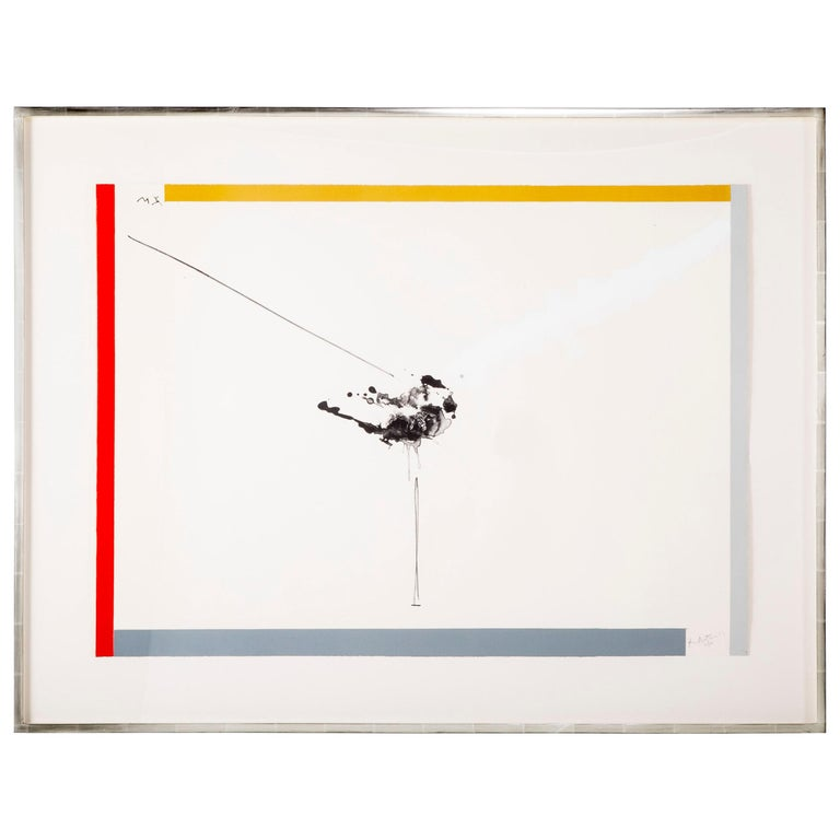 Robert Motherwell, West Islip, Lithograph with Hand Painting, 1970 For Sale