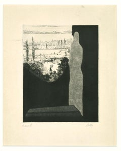 Figure in the Landscape - Original Etching by Robert Naly - Mid-20th Century