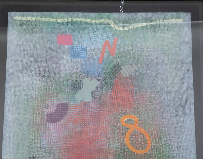 Modern Robert Natkin Abstract Lithograph with 'N' and Floating '8'