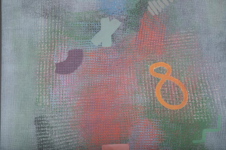 Late 20th Century Robert Natkin Abstract Lithograph with 'N' and Floating '8'