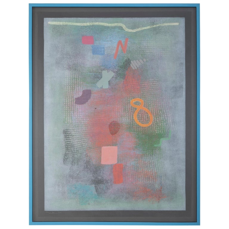 Robert Natkin Abstract Lithograph with 'N' and Floating '8'