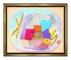 ROBERT NATKIN Original Acrylic Painting WOOD Relief SCULPTURE Signed Art OIL