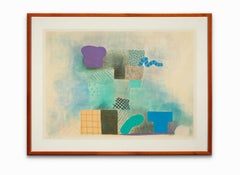"""""""Untitled"""", Abstract Lithograph, Blues and Purple, Signed and Numbered in Pencil"""