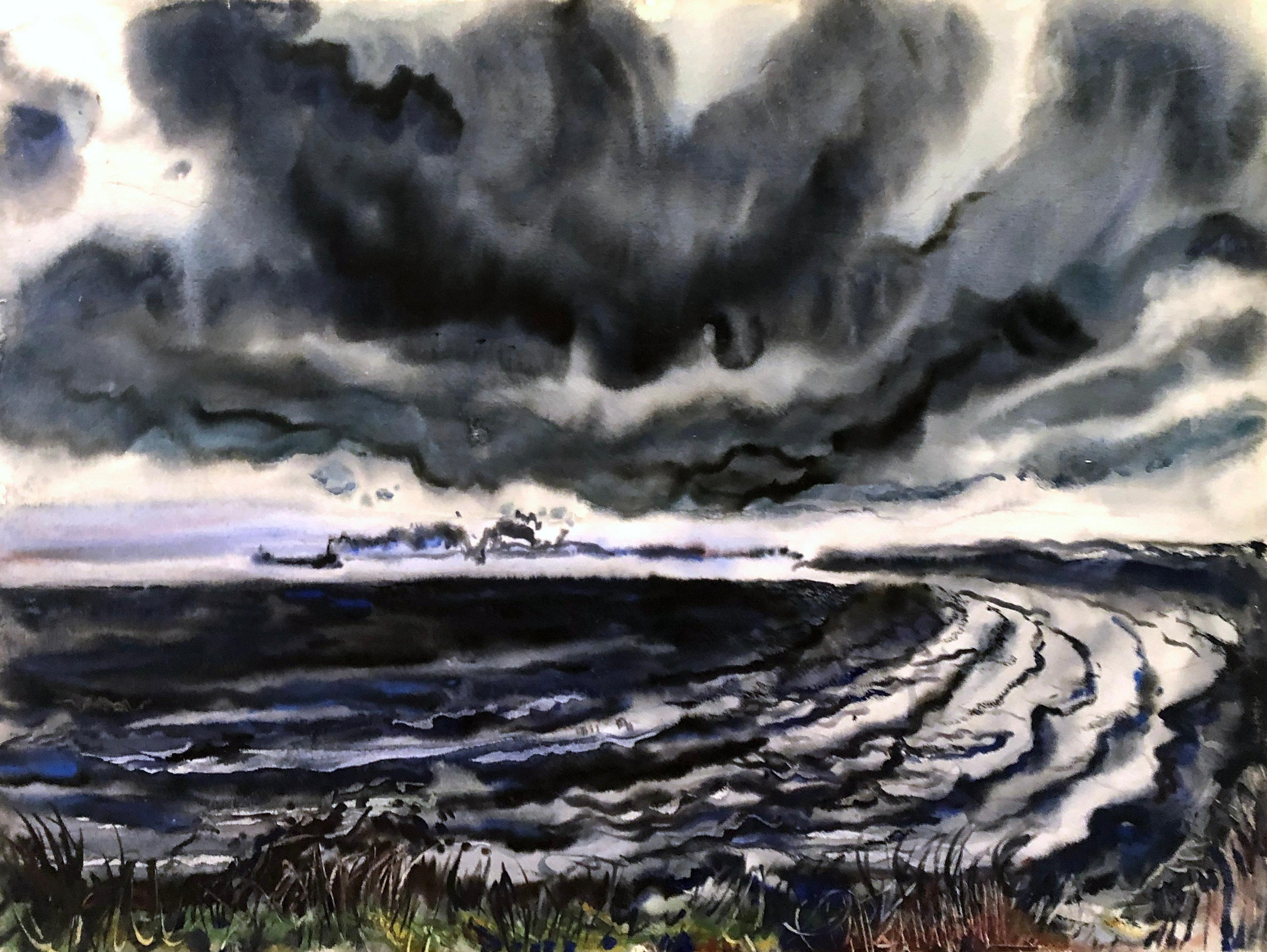 Lake Erie Watercolor on paper 1940's American Modern Robert Blair Black Blue