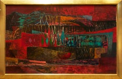 """""""Untitled (abstract landscape)"""" by Robert Preusser, Oil on Board, 1950s"""