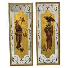 Robert Pansart Églomisé Glass Mirror Wall-Mounted Panel, a Pair