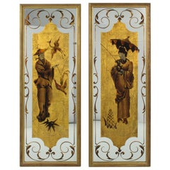 Robert Pansart Églomisé Glass Mirror Wall-Mounted Panel, Asian Character, a pair