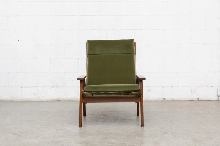 Mid-Century Modern Robert Parry Olive Velvet Lounge Chair For Sale