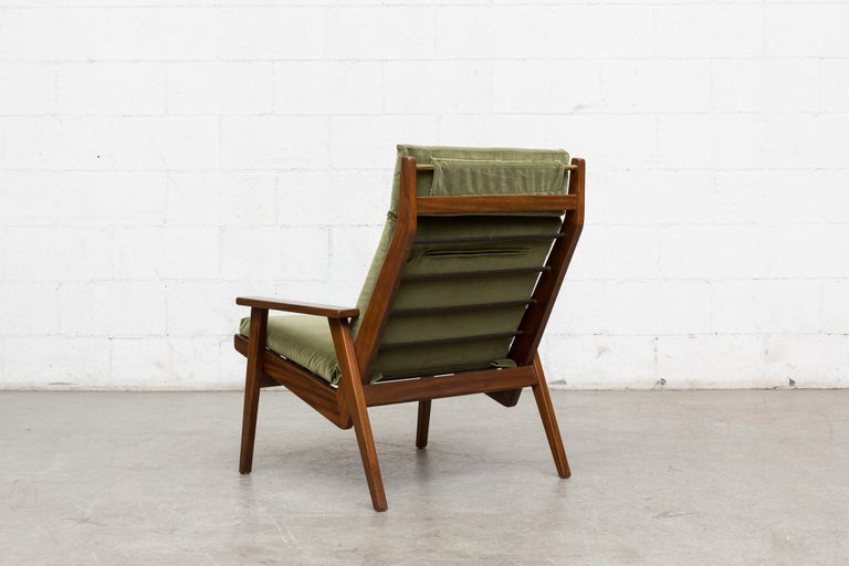 Robert Parry Olive Velvet Lounge Chair In Good Condition For Sale In Los Angeles, CA