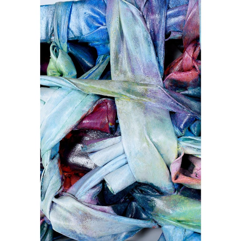 American Robert Patrick Painted Acrylic over Vinyl Textile Fiber Art, 1991 For Sale