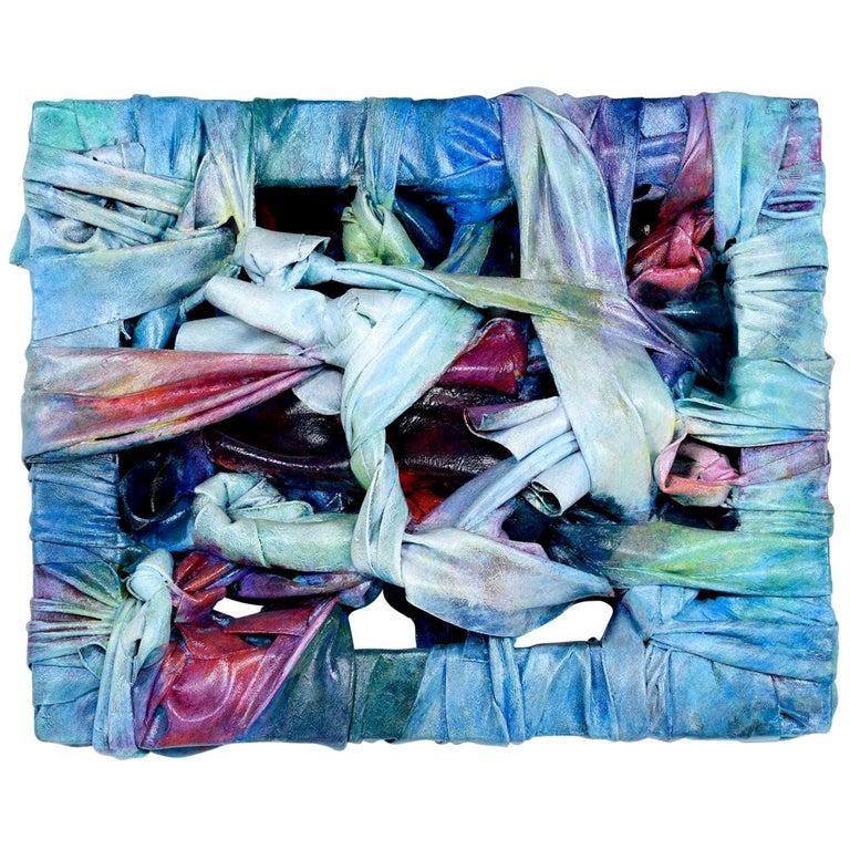 Signed Robert Patrick painted acrylic over vinyl textile fiber art, 1991.
