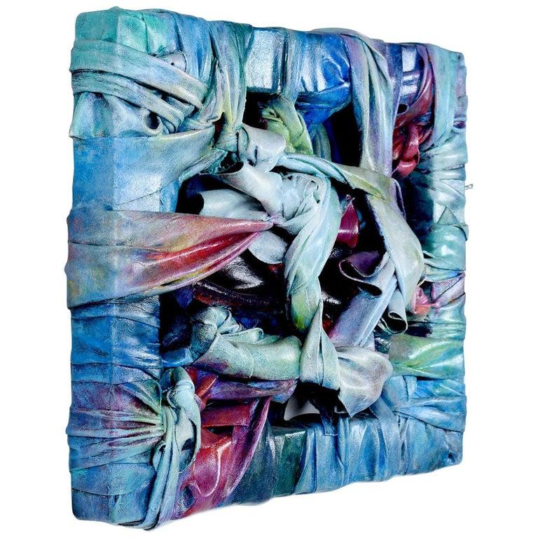 Robert Patrick Painted Acrylic over Vinyl Textile Fiber Art, 1991 For Sale