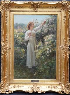 Portrait of a Lady with Roses - Scottish Edwardian exh art portrait oil painting
