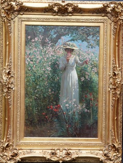 Portrait of a Lady with Sweet Peas - Scottish Edwardian exhib art oil painting