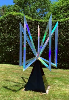 """""""Pulsar"""" Abstract Kinetic Holographic Metal Sculpture by Robert Perless"""