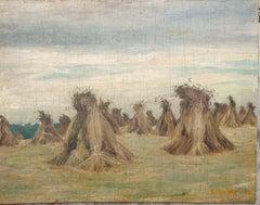 Harvest, The Haystacks, Mid-Century Oil on Panel.