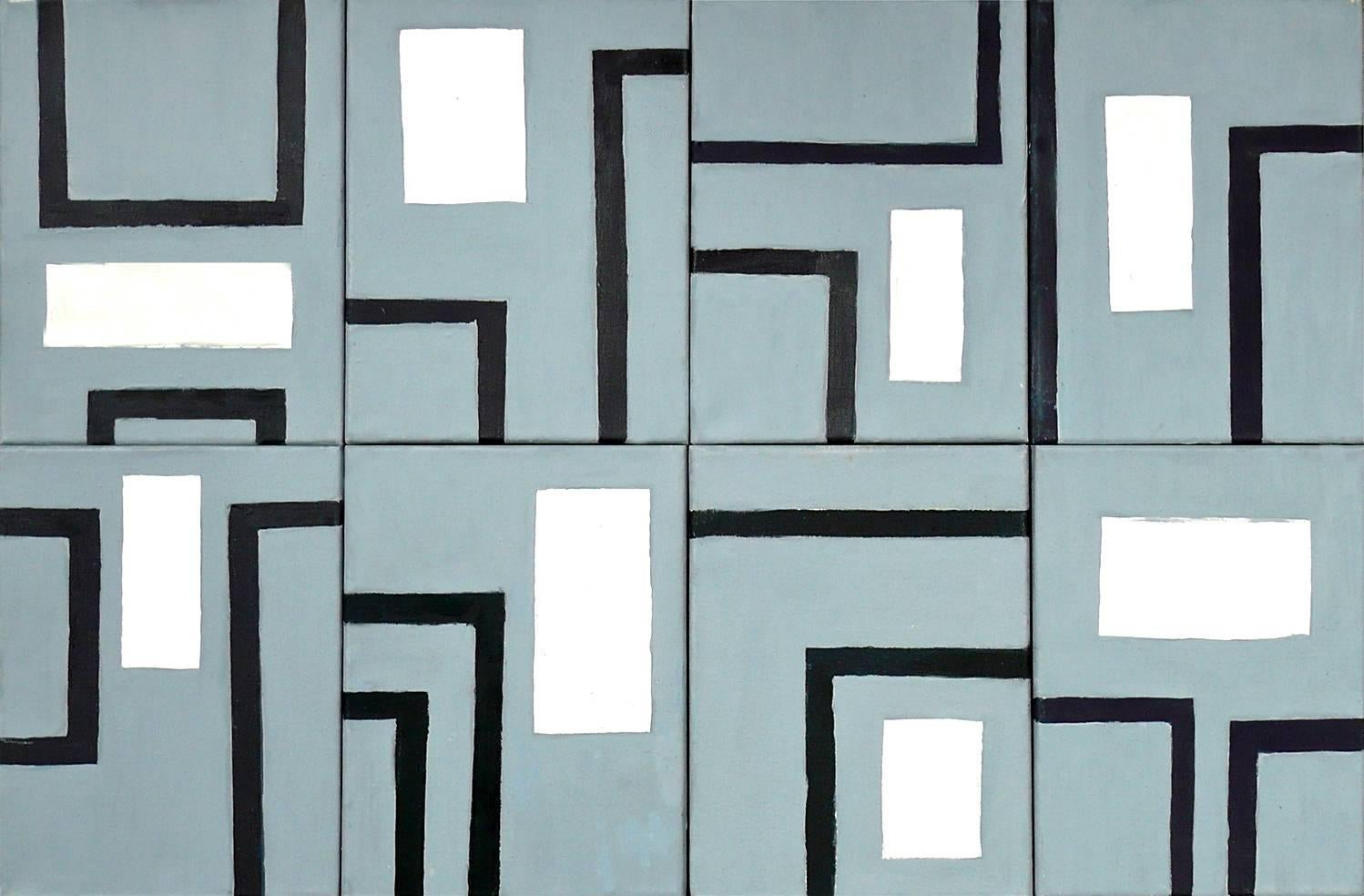 Grey Commuter (8 Modular Pieces, 12 x 9  inches) Geometric Abstract Painting