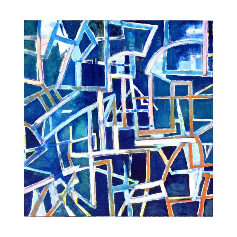 This large, colorful abstract painting on a blue background combines clean geometric lines with soft painterly gestures. It features vibrant and complementary shades of white, mint green, lavender, soft red to light orange, all with Robert Petrick's