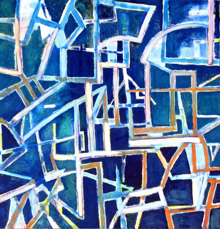 Robert Petrick Abstract Painting - Nightlight, Abstract Geometric East Village Painting