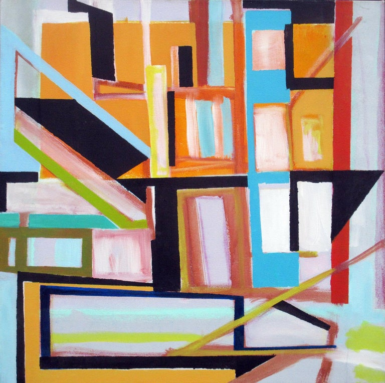 """Robert W. Petrick City Life Acrylic on Canvas  36 x 36 x 1 inches  This dynamic abstract """"Construction"""" by Robert W. Petrick is inspired by city life. East Village, New York.     Internal: Robert Petrick, East Village Abstract, nonobjective"""