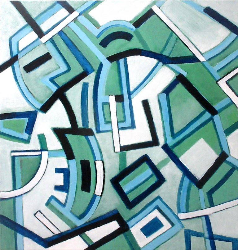 Robert W. Petrick Line Dancing 42 x 40 x 1.5 inches Acrylic on canvas 2019  This dynamic abstract painting by Robert W. Petrick is inspired by city life. East Village, New York.     Internal: Robert Petrick, East Village Abstract, nonobjective