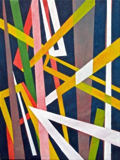 """Structure Series #2 V. 2,"" East Village, Colorful Abstract Geometric Painting"