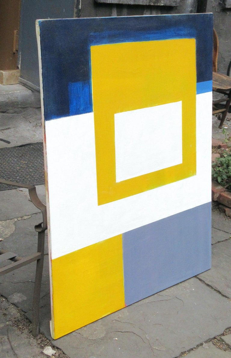 SUNBLOC, #EastVillage #Abstract #Geometric - Beige Abstract Painting by Robert Petrick