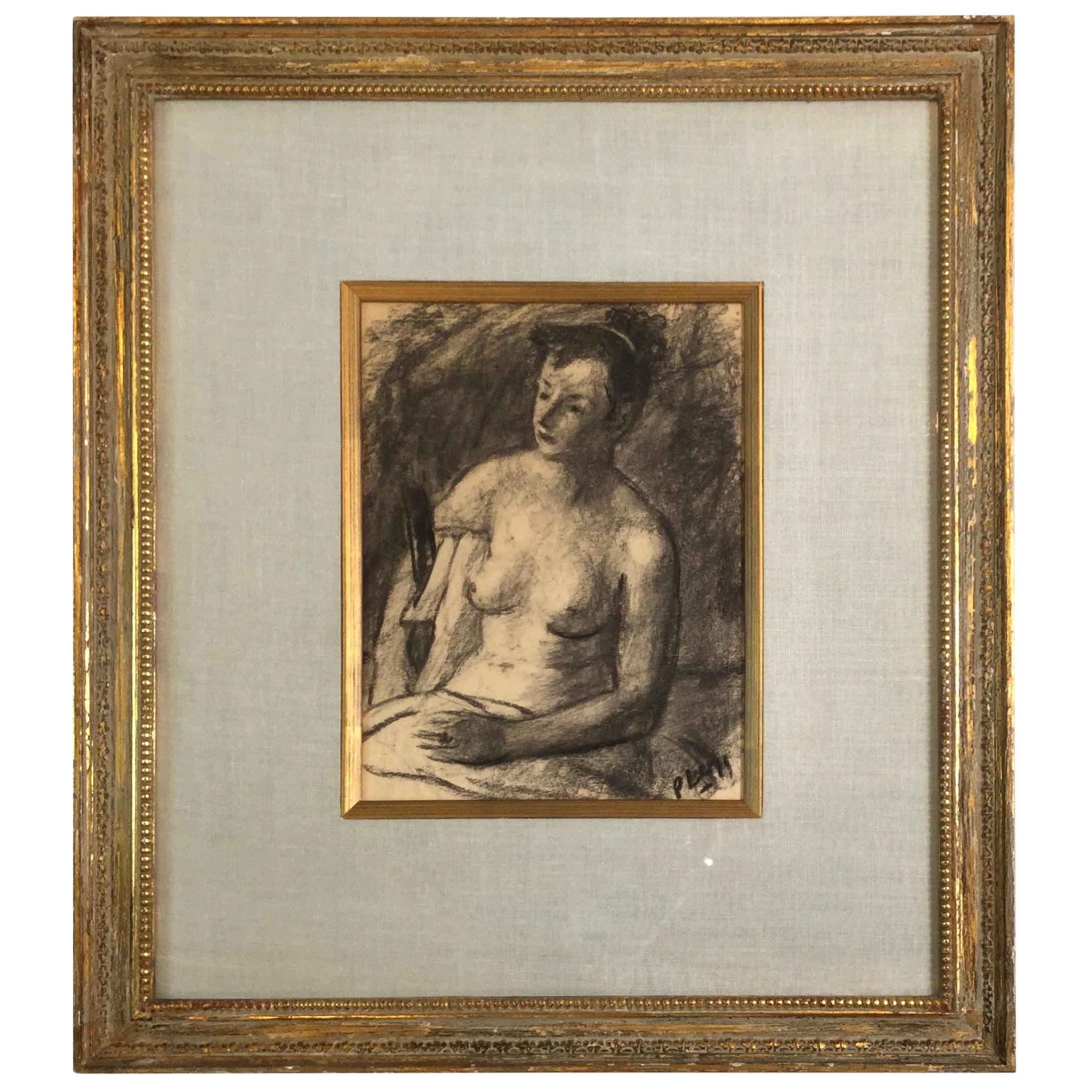 Robert Philipp Charcoal Nude on Paper