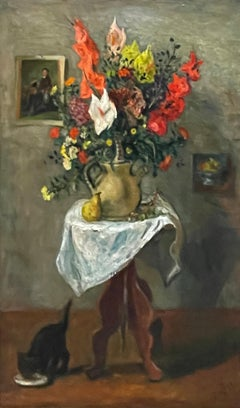"""""""Flowers on a Table with a Cat,"""" Robert Philipp, Still Life with Black Kitten"""