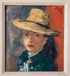 Girl in Straw Hat Oil Painting by Robert Philipp