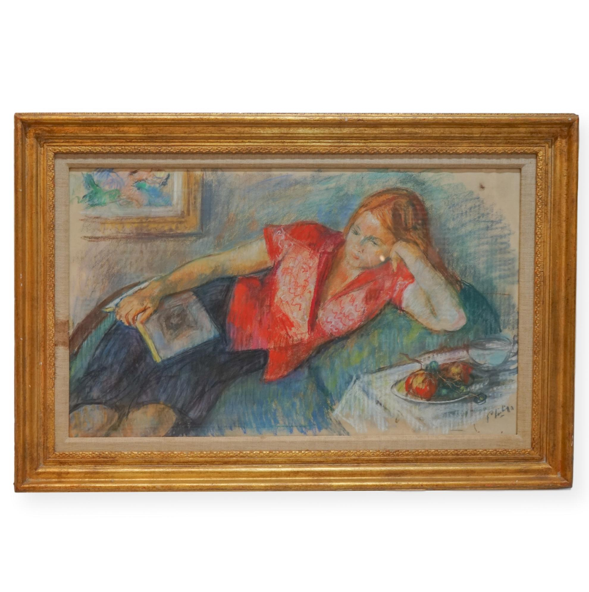 Modernist Portrait of a Reclining Pensive Girl