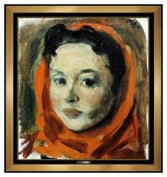Robert Philipp Original Oil Painting On Canvas Signed Female Portrait Framed Art