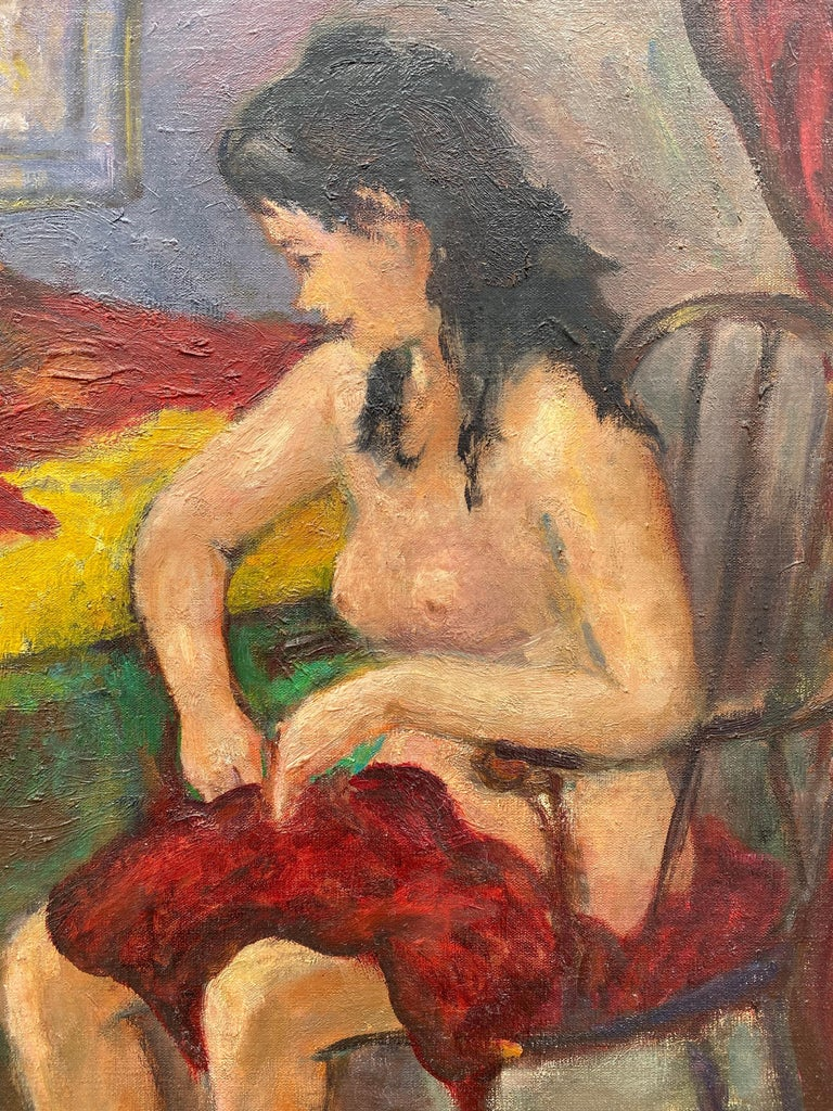 """""""Seated Nude"""" - Post-Impressionist Painting by Robert Philipp"""