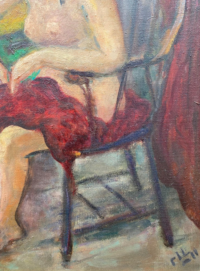 """""""Seated Nude"""" - Brown Figurative Painting by Robert Philipp"""