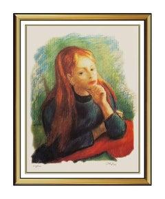Robert Philipp Color Lithograph Original SIGNED Authentic Female Portrait Art